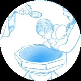 Dessin d'un bébé au dessus du fond baptismaux prêt à etre baptiser par le pretre
