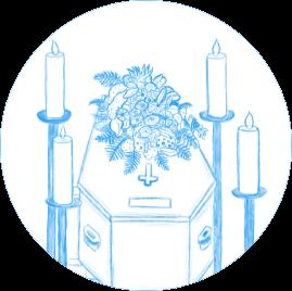Dessin d'un cercueil avec une gerbe de fleur et des cierges tout autour