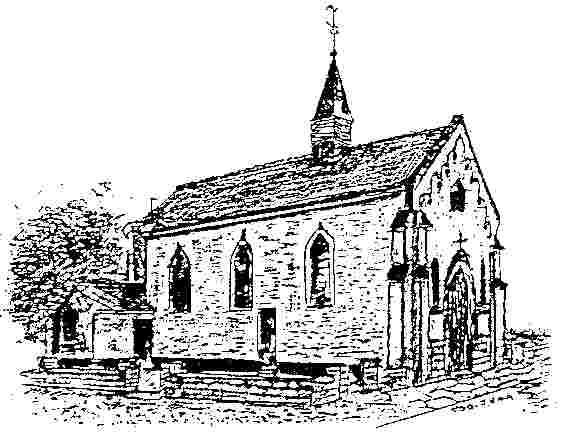 Lithographie d'archive de l'église de Baudour